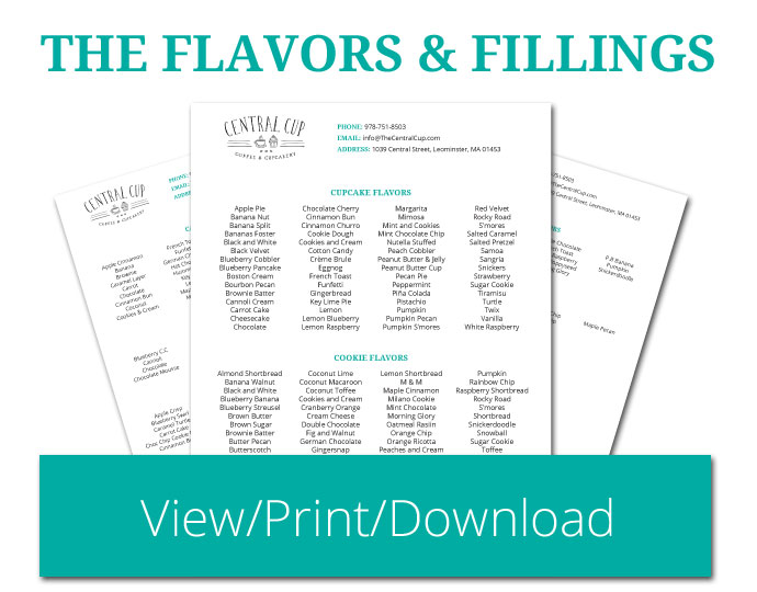 View, Read, Print, or Download our list of Flavors and Fillings - The Central Cup | Coffee & Cupcakery